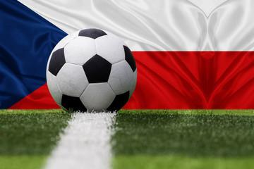 Czech Republic soccer ball against Czech Republic flag