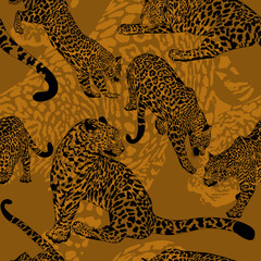 Seamless pattern with wild leopard