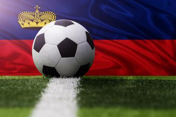 soccer ball against Liechtenstein flag