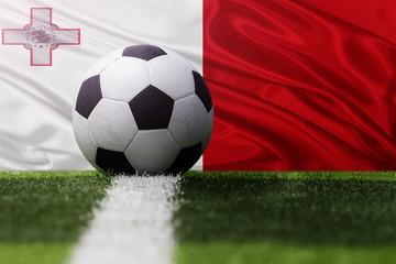 soccer ball against Malta flag