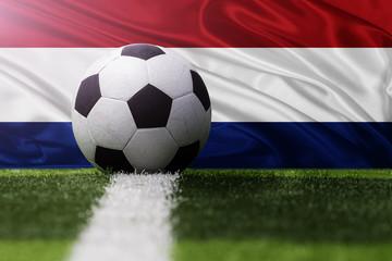 soccer ball against Netherlands flag