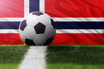 soccer ball against Norway flag