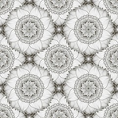 Black and white seamless pattern with sunflowers. Textile swatch or packaging design. Floral coloring page.