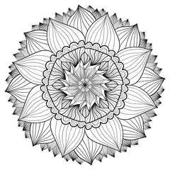 Ornamental floral mandala. Flower ornament pattern. Vector for adult coloring page or decoration