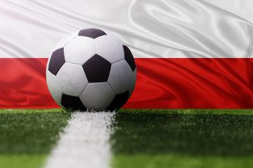soccer ball against Poland flag