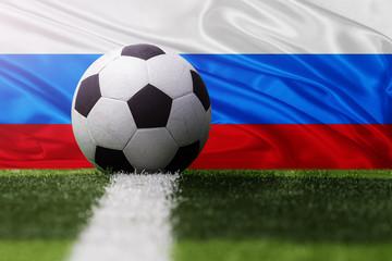 soccer ball against Russia flag