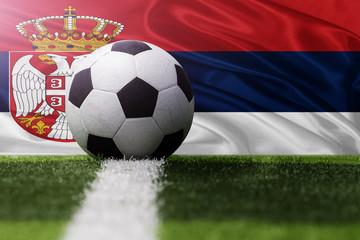 soccer ball against Serbia flag