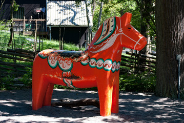 Fond de hotte en verre imprimé Scandinavie Dalecarlian horse (Dala Horse) in Sweden