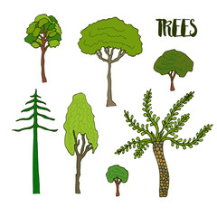 Hand sketch trees set. Collection of vector tree