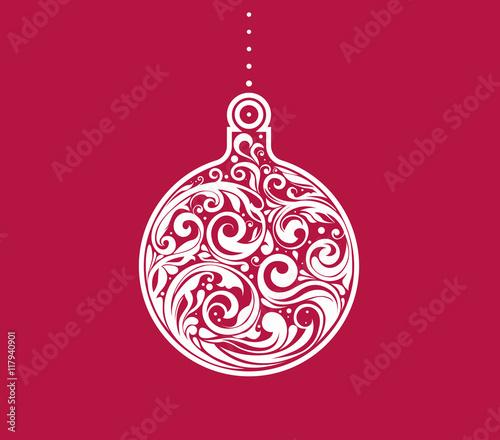 Christmas Ornament Vector.Vector Christmas Bauble Floral Design On A Shape Of