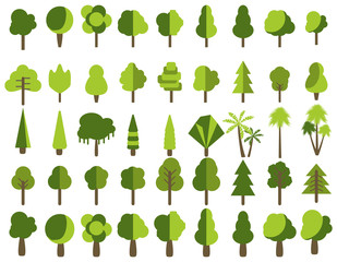 Flat trees in a flat design. Isolated on white. Vector icons.