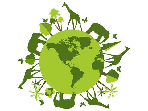 Animals on the planet, animal shelter, wildlife sanctuary. World Environment Day. Vector illustration.