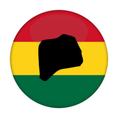 Rwanda map on a Rastafarian flag button