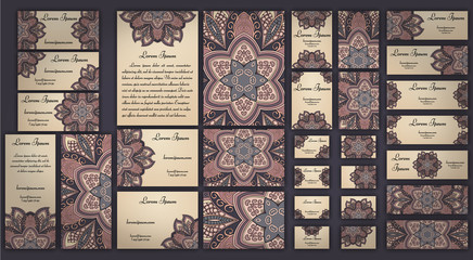 Business and invitation template Cards set with mandala ornament. Vintage decorative elements. Islam, Arabic, Indian, ottoman motifs.
