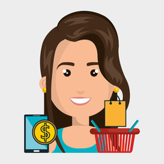 woman basket mobile money vector illustration graphic