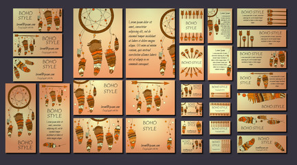 Vector set of abstract ethnic flyers with arrows, dreamcatcher, feather frames. Boho design brochure templates.