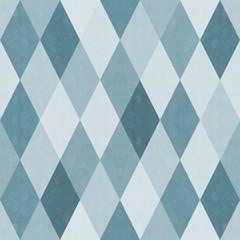 おしゃれで風合いのあるレトロなダイヤ柄シームレス(連続・繋がる)パターン 青系 背景素材
