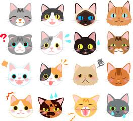 猫の表情のイラストセット