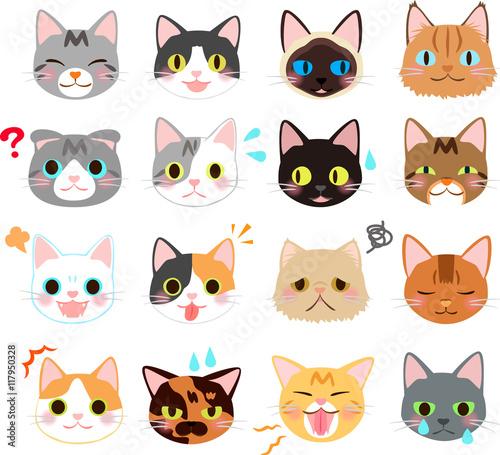 猫の表情のイラストセットfotoliacom の ストック画像とロイヤリティ
