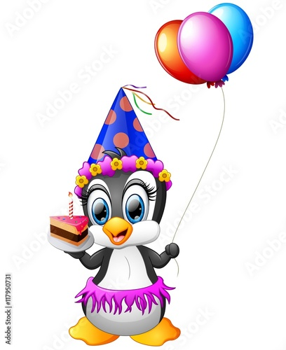 QuotHappy Penguin Cartoon Holding Birthday Cake And Balloon