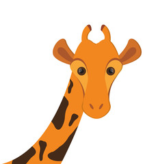 flat design giraffe cartoon icon vector illustration