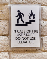 In Case of Fire Warning Sign