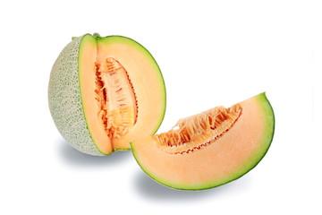 Slices appetizing orange Melon fruit isolated on white backgroun