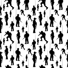 seamless pattern. Soldier silhouette. Military people vector ill