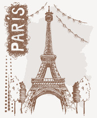 Sketch Eiffel Tower in Paris, France. Vector illustration in vintage style. Tshirt design with hand drawing Eiffel Tower and text Paris.