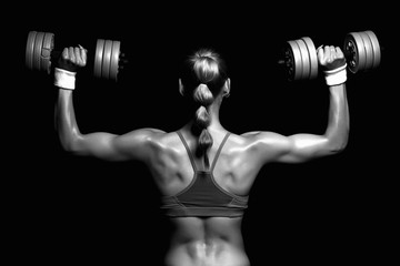 monochromatic bodybuilder young woman with dumbbells.blonde girl with muscles.gym