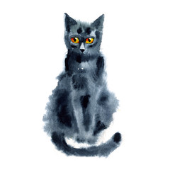 Black Blue Cat. Watercolor Painting. Hand-drawing Illustration.