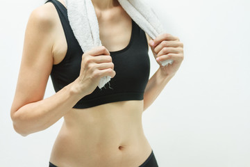 Young adults in a modern health/fitness club,Young woman wearing