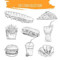 Fast food snacks and desserts sketch icons