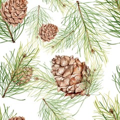 Seamless pattern with pine cones and pine branches. Watercolor painting. Handmade drawing. For the Christmas design and decoration