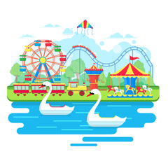 Amusement park concept with ferris wheel,  carousels and pedal boats. Vector illustration in flat style
