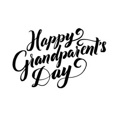 Happy Grandparents Day Calligraphy Poster on White Background