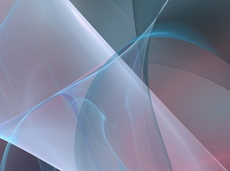 Pink blue abstract fractal with curved transparent strains