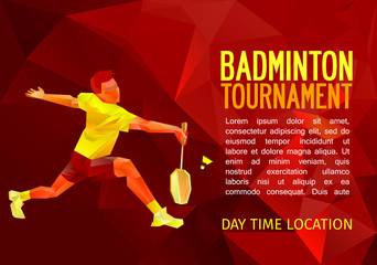 Badminton player, vector illustration with empty space for poster, banner, tournament announcement