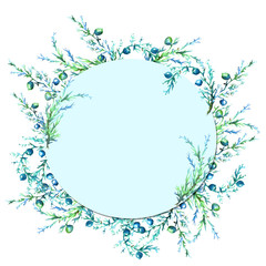 Watercolor, vintage frame, greeting, an invitation from a vegetative pattern, plant juniper with berries, pine needles, green, blue color.