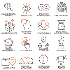 Set linear icons of business management, strategy, career progress and business people organization. Linear infographic vector logo pictograms - part 5