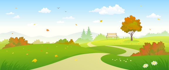 Autumn forest pathway