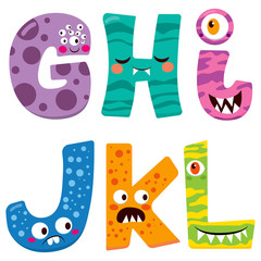 Cute Halloween alphabet with funny g h i j k l monster characters