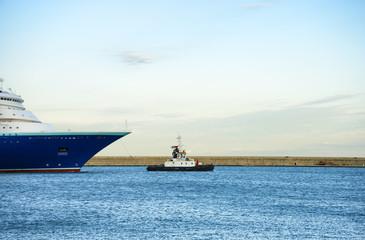 Passenger ship entering the harbor