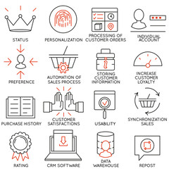 Vector set of 16 icons related to business management, strategy, career progress and business process. Mono line pictograms and infographics design elements - part 12
