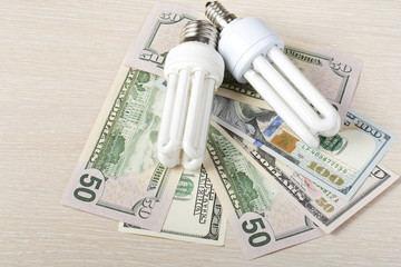 energy saving lamp, incandescent, fluorescent,  ,  electricity, money background, Eco   light bulb, comparison of   lamps and
