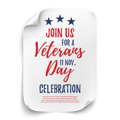 Veterans Day party poster.