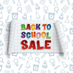 Back to School Sale, curved banner.