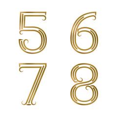 Five, six, seven, eight golden numbers. Font of lines with flourishes. Type in art deco style.