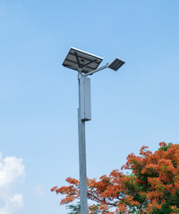 Pole electric solar with flame tree