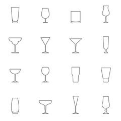 Outline cocktail glass icon set isolated on white background